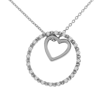 1/8ct tw NewBorn Lab Created Diamond Circle of Love Necklace in Sterling Silver