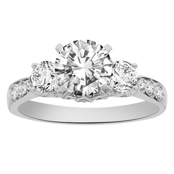 1 3/4ct tw Diamond Three Stone Engagement Ring in 18K White Gold