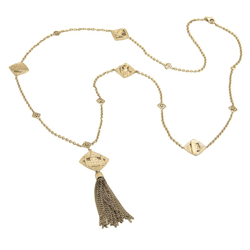 .01ct tw Diamond French Quarter Collection Cathedral Tassel Necklace in Sterling Silver with Yellow Gold Plating