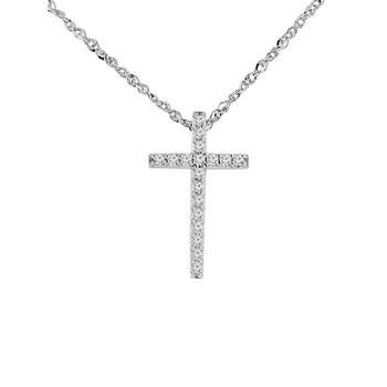 1/8ct tw NewBorn Lab Created Diamond Cross Necklace in 14K White Gold