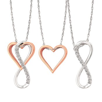 1/8ct tw Diamond Infinity Heart Necklace in 10K White & Rose Gold