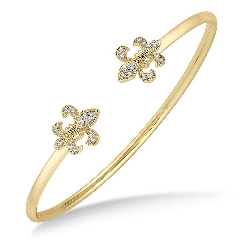 1/5ct tw Diamond Fleur De Lis Bangle Bracelet in 14K Yellow Gold