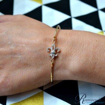 1/8ct tw Diamond Fleur de Lis Bangle Bracelet in 14K Yellow Gold