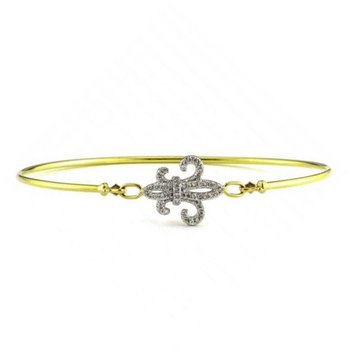 1/8ct tw Diamond Fleur de Lis Bangle Bracelet in 14K Yellow Gold
