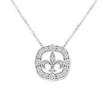 3/8ct tw NewBorn Lab Created Diamond Fleur De Lis Necklace in 14K White Gold