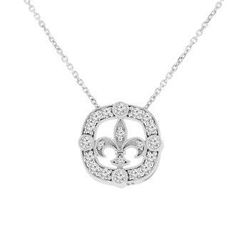 3/8ct tw NewBorn Lab Created Diamond Fleur De Lis Necklace in 14K White Gold