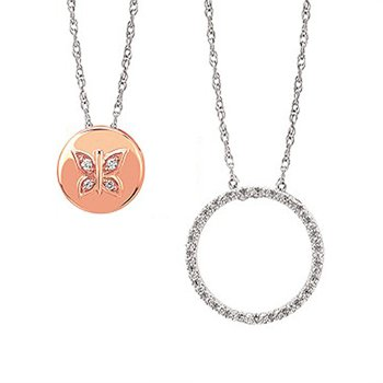 1/10ct tw Diamond Garden District Collection Butterfly Circle Necklace in 10K White & Rose Gold