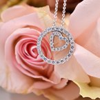 3/8ct tw NewBorn Lab Created Diamond Circle of Love Necklace in Sterling Silver