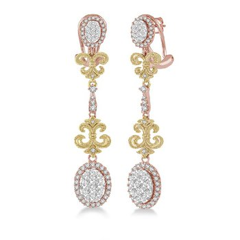 1 3/8ct tw Diamond Thousand Points of Light Earrings in 18K Rose & Yellow Gold