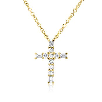 1/5ct tw Diamond Cross Necklace in 14K Yellow Gold