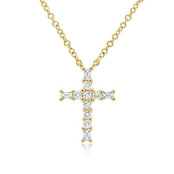 1/5ct tw Diamond Cross Necklace in 14K Yellow Gold