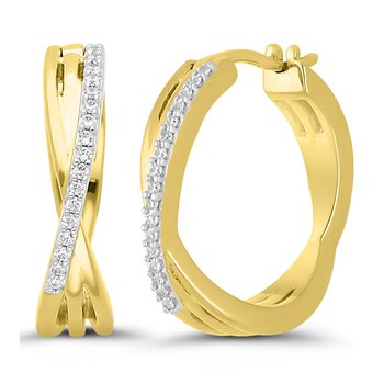 1/10ct tw Diamond Hoop Earrings in 10K Yellow Gold