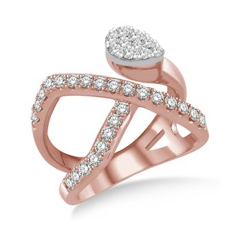 1ct tw Diamond Thouand Points of Light Fashion Ring in 18K White & Rose Gold