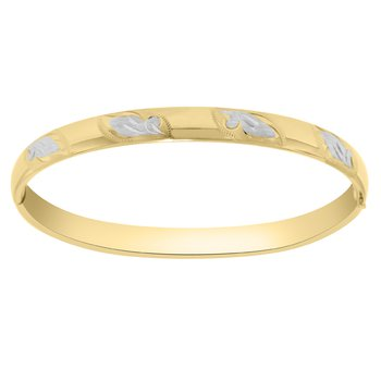 Bangle Bracelet in 14K Gold Filled White and Yellow Gold