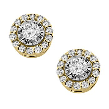 1/4ct tw Diamond Simply Love Collection Stud Earrings in 14K White & Yellow Gold
