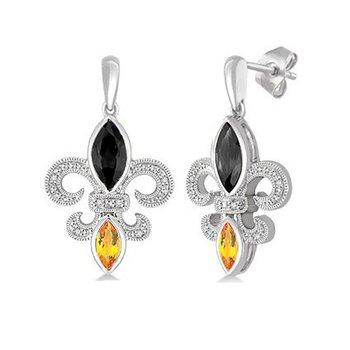 .05ct tw Diamond, Black Onyx, & Citrine Fleur de Lis Earrings in Sterling Silver