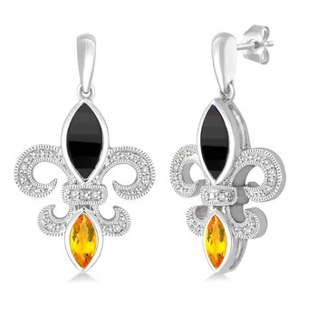 .05ct tw Diamond, Black Onyx, & Citrine Fleur de Lis Earrings in Sterling Silver