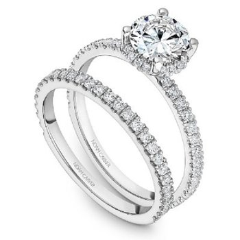 1/4ct tw Diamond Halo Engagement Ring Setting in 14K White Gold