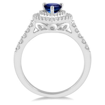 1/2ct tw Diamond & Blue Sapphire Halo Fashion Ring in 14K White Gold