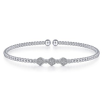 "1/8ct tw Diamond ""Bujukan"" Bangle Bracelet in 14K White Gold"
