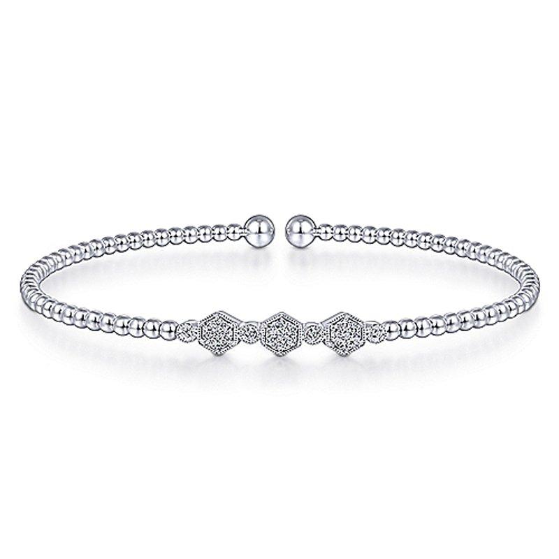 """1/8ct tw Diamond """"Bujukan"""" Bangle Bracelet in 14K White Gold"""