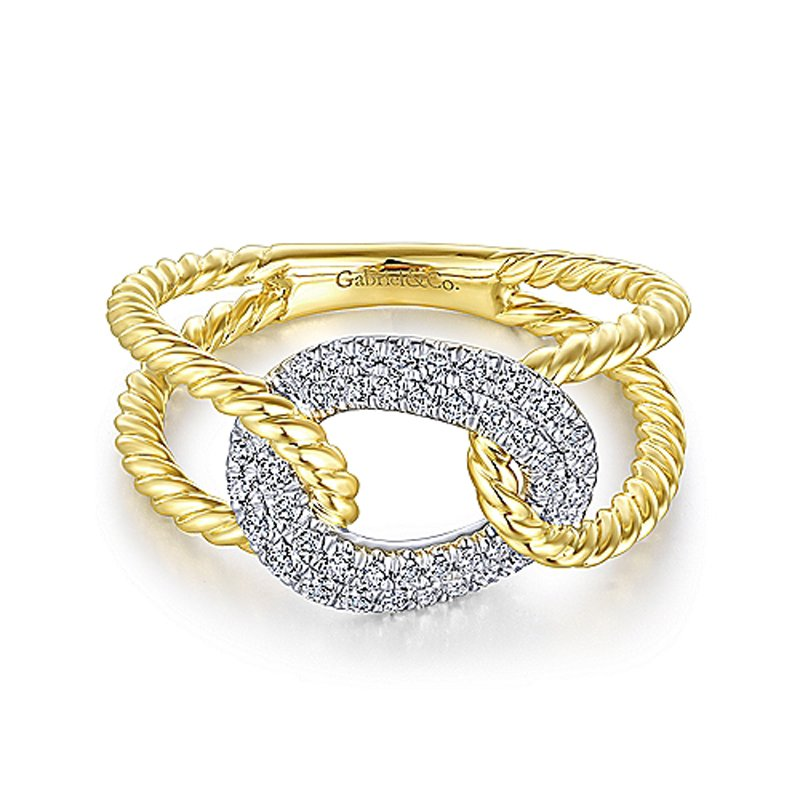 1/4ct tw Diamond Twisted Chain Link Fashion Ring in 14K White & Yellow Gold