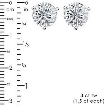 3ct tw NewBorn Lab Created Diamond Solitaire Stud Earrings in 14K White Gold