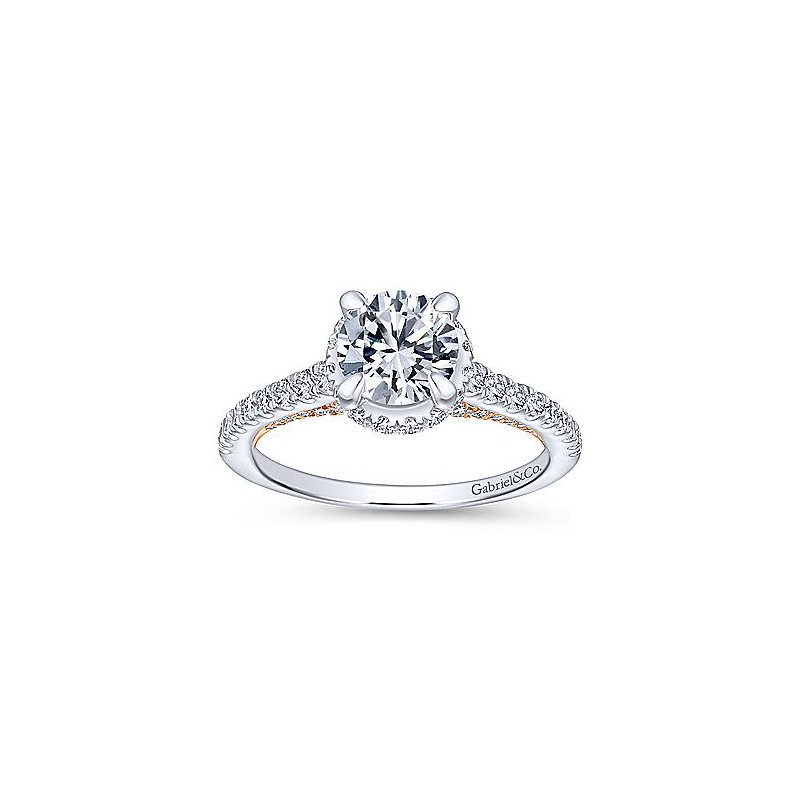 5/8ct tw Diamond Engagement Ring Setting in 14K White & Rose Gold