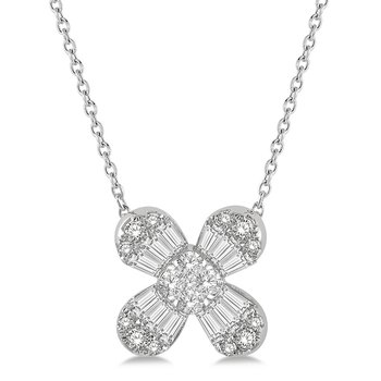 3/8ct tw Diamond Thousand Points of Light Flower Necklace in 14K White Gold