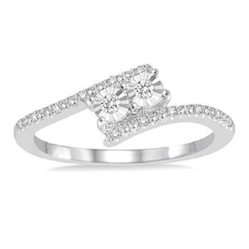 1/10ct tw Diamond Me & You Two Stone Ring in Sterling Silver