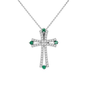 1/2ct tw Diamond & Emerald Cross Necklace in 18K White Gold