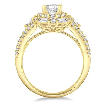1ct tw Diamond Halo Engagement Ring Setting in 14K Yellow Gold