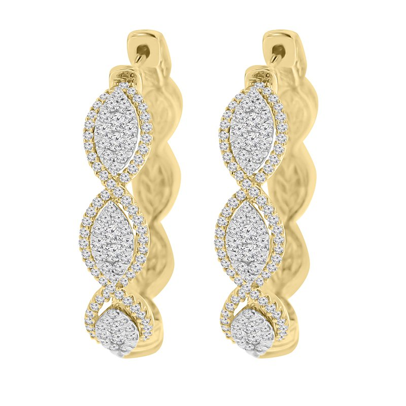 1ct tw Diamond Thousand Points of Light Hoop earrings in 14k White & Yellow Gold