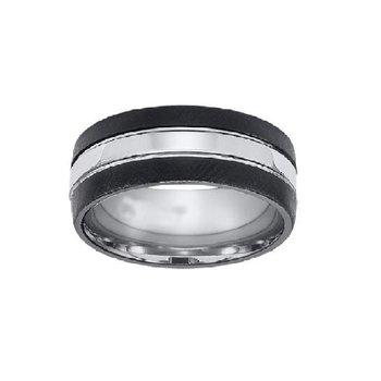 9mm Wedding Ring in White & Black Tungsten