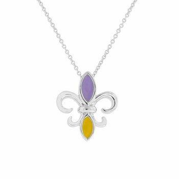 Purple & Gold Enamel Fleur De Lis Necklace in Sterling Silver