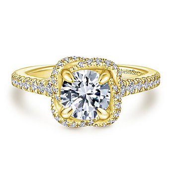 3/8ct tw Diamond Engagement Ring Setting in 14K Yellow Gold
