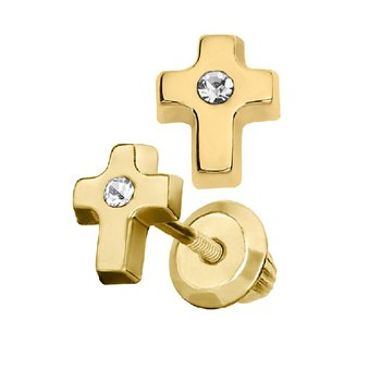 Cross Earrings in 14K Yellow Gold