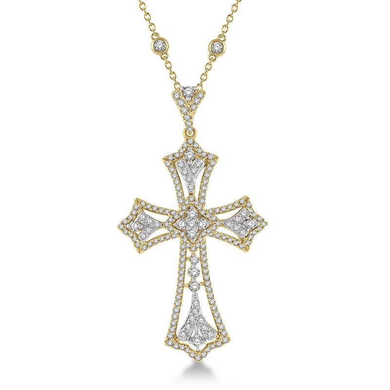 1 1/2ct tw Diamond Cross Necklace in 18K White & Yellow Gold
