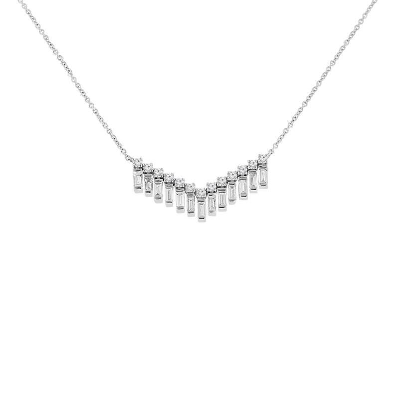 5/8ct tw Diamond Bar Necklace in 14K White Gold