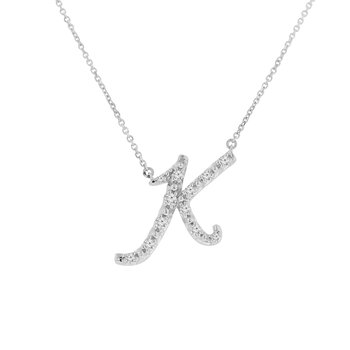 1/4ct tw NewBorn Lab Created Diamond Love Letter Necklace in Sterling Silver