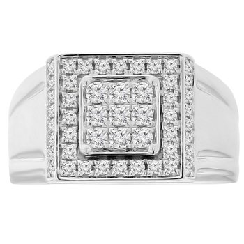 3/4ct tw  NewBorn Lab Created Diamond Fashion Ring in 14K White & Yellow Gold