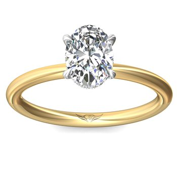 .06ct tw Diamond Hidden Halo Solitaire Engagement Ring Setting in 14K White & Yellow Gold