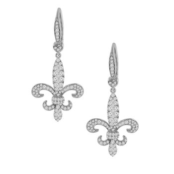 1 1/8ct tw Diamond Fleur De Lis Earrings in 14K White Gold