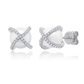 1/5ct tw Diamond & Pearl Stud Earrings in 14K White Gold