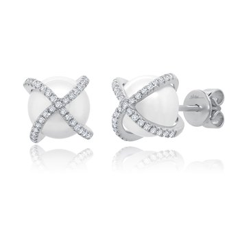 1/5ct tw Diamond & Pearl Stud Earrings in 14K White Gold