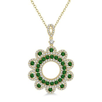 7/8ct tw Diamond & Emerald Circle Pendant in 18K Yellow Gold