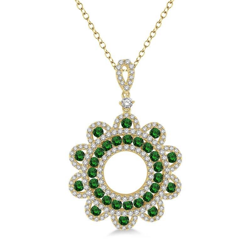 7/8ct tw Diamond & Emerald Circle Pendant in 18K Yellow Gold