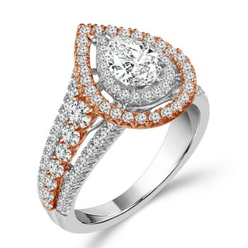 1 3/4ct tw Diamond Halo Engagement Ring in 14K White & Rose Gold