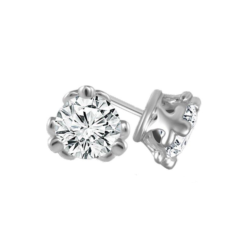 1/2ct tw Diamond Fleur De Lis Solitaire Stud Earrings in 14K White Gold
