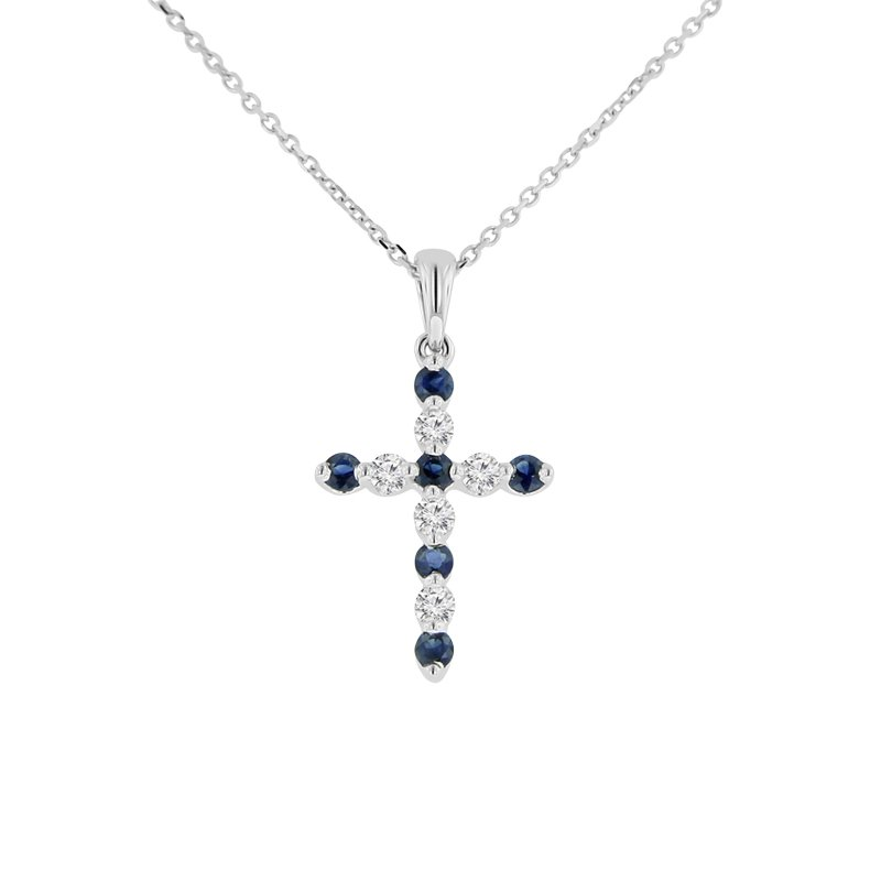1/2ct tw Diamond & Blue Sapphire Cross Necklace in 18K White Gold